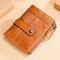 Men 13 Card Slots Rfid Antimagnetic Genuine Leather Solid Wallet  - Brown
