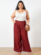 Solid Color Elastic Waist Wide Leg Plus Size Pants with Pockets - Wine Red