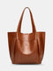 Lightweight Breathable Soft Vintage Large Capacity Magnetic Button Closure Handbag Tote - Brown