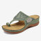 LOSTISY Embroidered Clip Toe Beach Casual Wedges Sandals - Green
