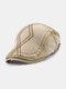 メンズコットンアーガイル柄刺繍スターストライプレザーラベルカジュアルベレーフラットキャップ - ダークベージュ