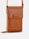 Multi-slots Flap Magnetic Button Stitch Detail Multi-pockets Touch Screen On The Back 7 Inch Phone Bag - Brown