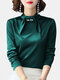 Solid Color Pearl Knotted Collar Long Sleeve Elegant Shirt - Green