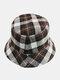 Women & Men Plaid Pattern Retro Port Style Windproof Soft All-match Travel Bucket Hat - #14
