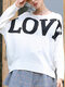 Love Letter Printing Long Sleeves O-neck Loose Knitted Sweater - White