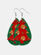 Christmas Double Layer Leather Women Earrings Drop Shape Christmas Tree Pendant Earrings - #02