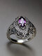 Vintage 925 Thai Silver Amethyst Ring Hollow Inlaid Diamond Women Ring - Silver
