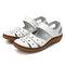 Sandales plates décontractées creuses en cuir à velcros pour femme