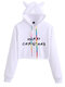 Christmas Letters Print Long Sleeve Casual Hoodie For Women - White