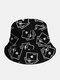Cappello intero in cotone unisex Poker Modello Cappello da pescatore moda in tinta unita con stampa - Nero