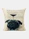 Animal Head Wine Glass Pattern Linen Cushion Cover Home Sofa Art Decor Throw Pillowcase - #09