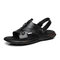 Men Cow Leather Non Slip Soft Sole Casual Two Ways Sandals - Black