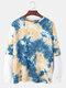 Mens Cotton Tie-Dye Faux Twinset Round Neck Long Sleeve Sweatshirt - Blue