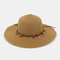 Fashion Wild Women Summer Sunscreen Straw Hats Beach Hat Shade Straw Hat Seaside Holiday Big Along Hat - Khaki