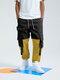 Mens Colorblock Patchwork Push Buckle Pocket 100% Cotton Drawstring Cargo Pants - Black