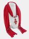 Vintage Women Scarf Necklace Solid Color Leaf Pendant Shawl Necklace - #01
