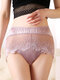 Women High Waisted Modal Lace Patchwork Full Hip Soft Thin Comfy Smooth Panty - Pink