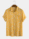 Daisy Spray Floral Printed Cotton Holiday Casual Short Sleeve Shirt For Men Women - Yellow