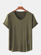 Mens Plain Breathable Solid Color Short Sleeve T-Shirt - Army Green