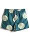 Mens Striped & Circle Print Quick-Drying Drawstring Board Shorts - Green