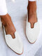 LOSTISY Plus Size Casual Braided Veins Buckle Slingback Flats for women - White