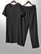 Lightweight Plain Cozy Loose Cotton Linen Loungewear Set O Neck Breathable Home Co-ords for Men - Black