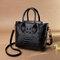 Women Crocodile Pattern PU Leather Handbag Casual Crossbody Bag - Black