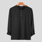 Mens Brief Style Solid Color Breathable Casual Long Sleeve Henley Shirts - Black