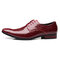 Large Size Men Stylish Leather Slip Resistant Business Formal Shoes  - Red