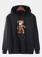 Mens Cartoon Bear Graphic Cotton Drawstring Hoodies With Pouch Pocket - Black