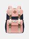 Women Waterproof Patchwork Large Capacity Travel Backpack School Bag - Pink Blue