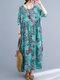 Vintage Flower Print Loose O-neck Half Sleeve Dress for Women - Blue