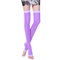 Women Elastic Wire Over Knee Stocking Solid Color Thigh Long Breathable Contoured Stockings Socks - Purple
