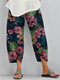 Flowers Print Casual Plus Size Pants for Women - Navy