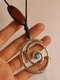 Vintage Oval Wood Women Necklace Spiral Pendant Leather Necklace Jewelry Gift - Gold