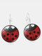 Vintage Seven-stars Ladybug Pattern Drop-shape Alloy Glass Sheet Earrings - #05