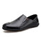 Men Comfy Leather Breathable Non Slip Slip On Casual Driving Loafers - Black