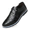Menico Large Size Men Stylish Splicing Comfy Soft Lace Up Casual Leather Shoes