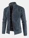 Mens Geometric Casual Stand Collar Regular Fit Knitted Sweater Cardigan - Navy