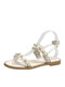 Women Lace Pearl Rivet Inlay Comfortable Flat Holiday Stripe Sandals - Beige