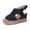 Women Retro Peep Toe Hollow Slingback Buckle Platform Sandals - Black
