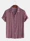 Mens Ethnic Pattern Print Stripe Smooth Breathable Short Sleeve Shirt - Red