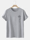 Mens Line Drawing Rose Graphic 100% Cotton Short Sleeve T-Shirts - Gray