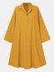 Solid Color Loose Lapel Long Sleeve Casual Dress For Women - Yellow
