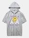 Mens Checkered Smile Print Short Sleeve Hooded T-Shirt - Gray