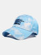 Unisex Tie-dye Cotton Letters Line Drawing Fox Embroidery Fashion Sunshade Baseball Cap - Sky Blue
