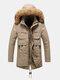 Mens Winter Thicken Multi-Pocket Plus Velvet Warm Zipper Parkas - Khaki