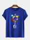 Mens Cotton Astronaut Colorful Planet Print O-Neck Casual Short Sleeve T-Shirts - Dark Blue