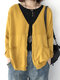 Solid Color Knitting Long Sleeve Casual Cardigan For Women - Yellow
