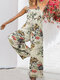 Floral Print Wide-legged Pockets Straps Sleeveless Jumpsuits For Women - Yellow